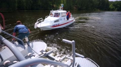 Mooring of two EMERCOM boats during patrol of Stroginskaya bay. Stock Footage