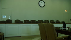 Jury Box in Pennsylvania Courtroom Zoom Out Dolly HD Video Stock Footage