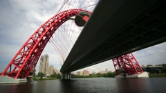 Zhivopisny Bridge, view from moving motorboat. Stock Footage