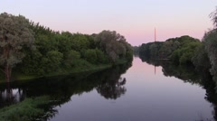 River in the morning, far bayonet Brest Fortress. background - stock footage