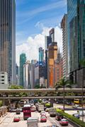 Hong Kong Downtown street crowded with transport - stock photo