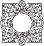 Rich decorated square frame pattern with round centre. Vector decorative back Piirros