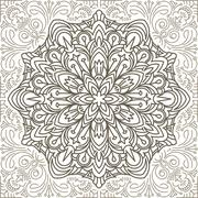 Stock Illustration of Doodle flower eamless pattern in brown tones. Vector decorative background in