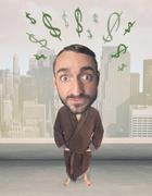 Big head person with idea dollar marks Stock Photos