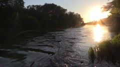 Bug River in the evening, the sun sets on the border Stock Footage