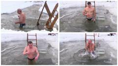Traditional Ice Swimming at Epiphany Day. Collage. Stock Footage