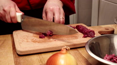 Chef preparing ingredients for future dish. Slider shoot. Close up Stock Footage