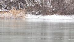 Panning over over frozen lake. 4K Stock Footage