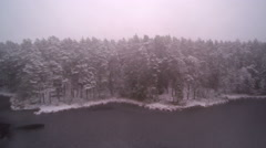 Fogs and snow covering the whole forest Stock Footage