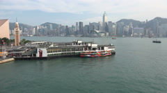 Scenic Hong Kong city skyline, Victoria Harbor, Star Ferry pier, Asia travel Stock Footage