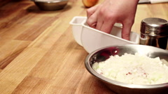Chef spicing mince. Slider shoot. Close up Stock Footage