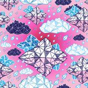 Seamless graphic pattern geometric clouds Stock Illustration