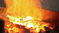 Flame Of Fire In The Forge Stock Footage