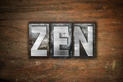 Zen Concept Metal Letterpress Type Stock Illustration