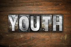 Youth Concept Metal Letterpress Type - stock illustration