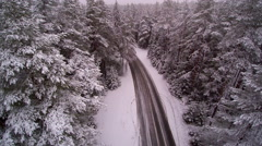 The road in the middle of the forest in snow Stock Footage