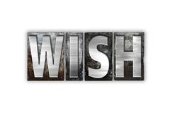 Wish Concept Isolated Metal Letterpress Type - stock illustration