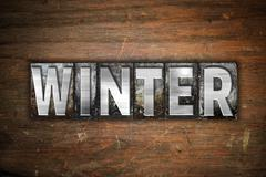 Winter Concept Metal Letterpress Type - stock illustration