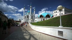 Kazan Kremlin, view of ancient fortification wall. - stock footage