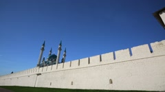 Kazan Kremlin, pan view of ancient fortification wall. - stock footage