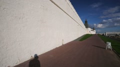 Kazan Kremlin, walk along an ancient fortification wall. - stock footage