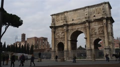 Arch of Constantine is triumphal arch in Rome Stock Footage