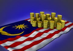 Malaysian economy concept with national flag and golden coins - stock illustration
