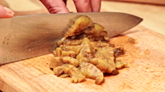 Chef cutting meat for future dish. Close up Stock Footage