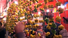 Flower Market,Chinese New Year,birds toys booth Stock Footage