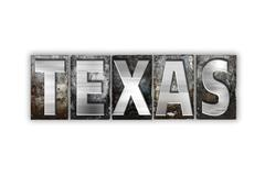 Texas Concept Isolated Metal Letterpress Type - stock illustration