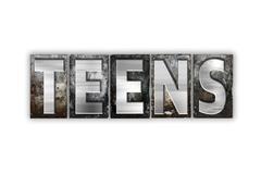Teens Concept Isolated Metal Letterpress Type - stock illustration