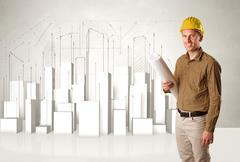 Construction worker planing with 3d buildings in background - stock photo