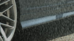 Car Side Skirt in slow motion Rain - stock footage