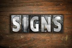 Signs Concept Metal Letterpress Type - stock illustration