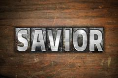 Savior Concept Metal Letterpress Type Stock Illustration