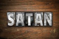 Satan Concept Metal Letterpress Type - stock illustration