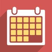 Month Calendar Flat Long Shadow Square Icon - stock illustration