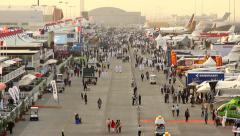 Dubai Air Show static exposition, general view, crowded trade exhibition area Stock Footage