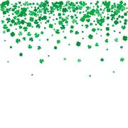 St. Patricks day background with flying clovers. - stock illustration