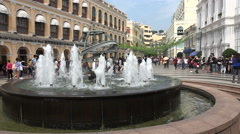 Water fountain in the old center of Macau, the Senado Square Stock Footage