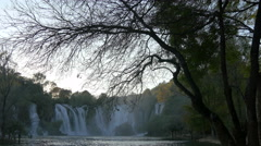 Beautiful view of a tree without leafs and Kravice waterfall - stock footage