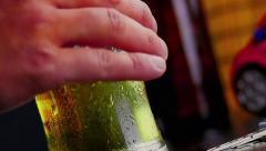 Man drink fresh beer with foam, drunk and driving conceptual Stock Footage