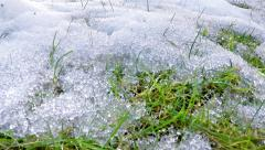 Snow melting in early spring, panning timelapse Stock Footage