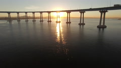 4k San Diego Coronado Bridge Sun Rise 002 Fly Over Stock Footage