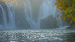 Panoramic view of the bottom of Kravice waterfall Stock Footage