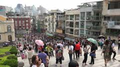 Beautiful skyline old Macau city, popular tourist destination in China - stock footage