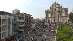 Colonial architecture, popular tourist sight, St Paul's church, Macau, China - stock footage