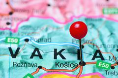 Kosice pinned on a map of Slovakia Stock Photos