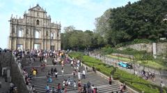 Macau architecture, St Paul's church, tourism, history, culture, Asia - stock footage