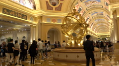 Italian style entrance hall to Venetian Macao casino resort, tourism in China Stock Footage